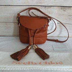 New See by Chloe Vicki Leather Flap Bucket Bag